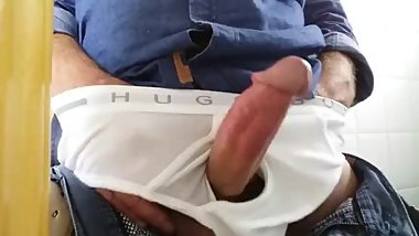 Teasing and Wanking in the Office Toilet