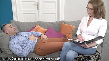 LustyGrandmas Mature Therapist Takes Patient's Cum in Mouth