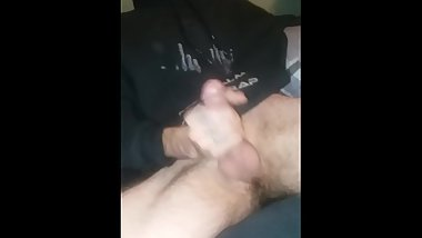 Mature male in black Eminem hoodie moaning.
