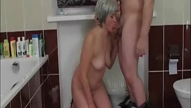 Mature lady creampied doggystyle in the bathroom
