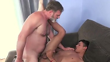 Silver daddy has dirty sex with a cute young twink