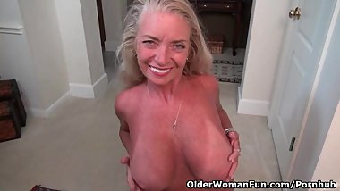 American milf Kyle shows us her naughty side
