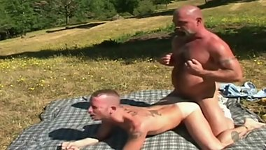 Masculine trucker daddy cums inside hot young stud