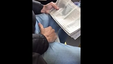 mature guy caught stroking his bulge on the bus