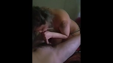 Tattooed GF sucks and gags on big dick
