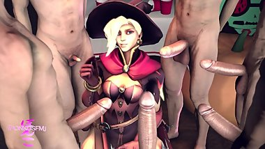 Witch Mercy Transfers Dick Size to Unlucky Guy who Prematurely Ejaculates