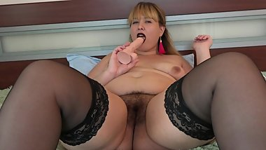 beautiful bbw milf, dildo in big juicy ass and vibrator in hairy pussy