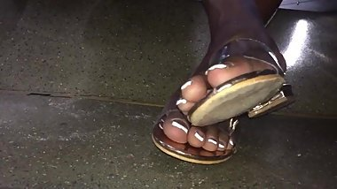 Mature ebony French tip toes