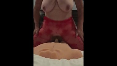 My Cougar Wife Red Lingerie Having Fun