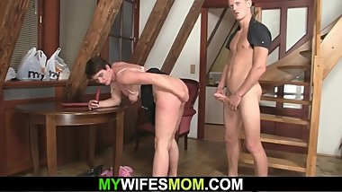 Mother inlaw swallows his horny big cock