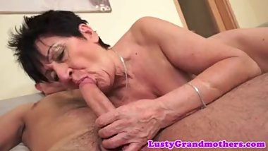 Dicksucking grandma rides fat cock