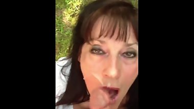 Mature woman takes a facial