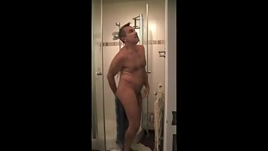 Dad taking a shower at home