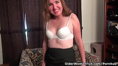 American milf Terri gets naughty in white nylon